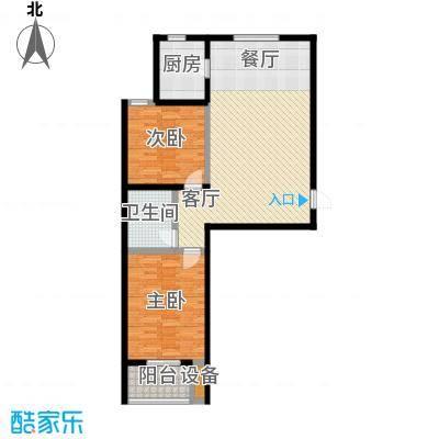 悦水澜庭94.29㎡A户型两室两厅一卫户型2室2厅1卫