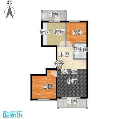 学院新城73.86㎡高层G户型2室2厅1卫