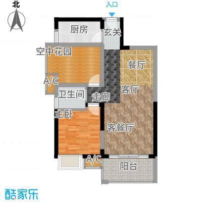 锦地繁花76.71㎡A3新户型1室室2厅1卫X