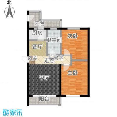 学院新城77.76㎡高层B户型2室2厅2卫