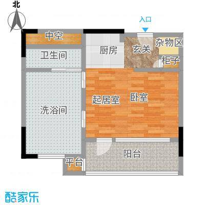 万科双月湾56.00㎡高层公寓户型1室1卫户型1室1厅1卫