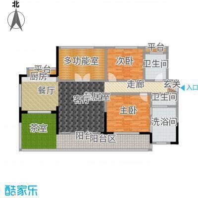 万科双月湾140.00㎡高层洋房户型3室2厅2卫1厨户型3室2厅2卫