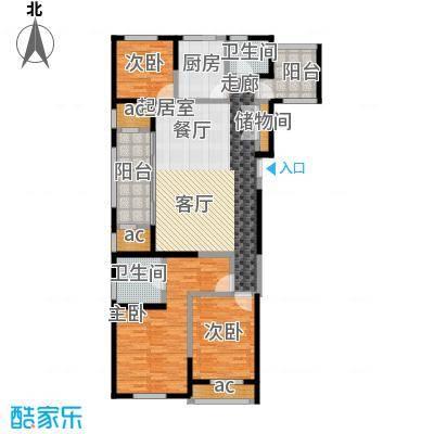 城置金色年华127.00㎡高层E户型三室两厅两卫 127㎡户型3室2厅2卫