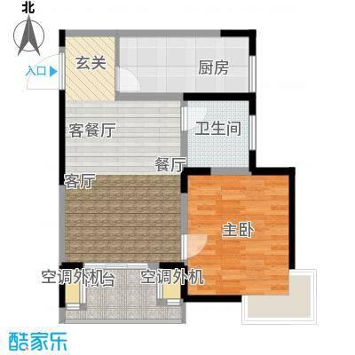 汇智・阳澄华庭61.00㎡B户型1室2厅1卫1厨 61.00平米户型1室2厅1卫