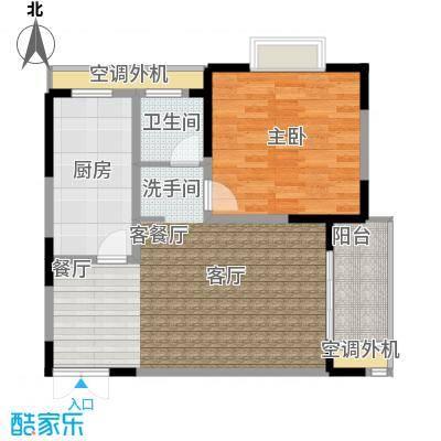 汇智・阳澄华庭70.00㎡A户型1室2厅1卫1厨 70.00平米户型1室2厅1卫