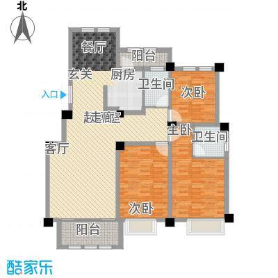 上海大公馆140.10㎡D户静雅名居户型3室2厅2卫