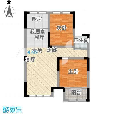 上海大公馆87.60㎡C户型,精品两室户型2室2厅1卫