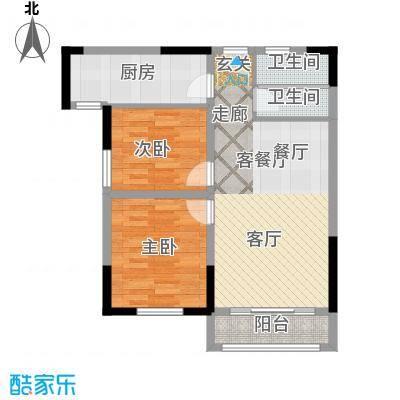 青桦逸景81.00㎡23、25、26#E户型81㎡户型2室2厅1卫
