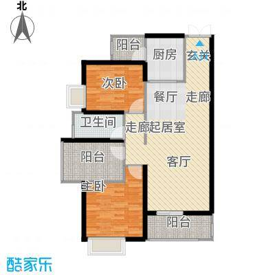 星汇绿洲花园101.00㎡浪漫2+1房户型3室2厅2卫