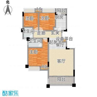 建筑面积约110.89锦江新天地D户型三室两厅两卫CC