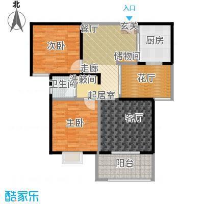 丽阳兰庭98.93㎡户型A1 两室两厅一卫+花厅 建筑面积约:98.93㎡户型2室2厅1卫