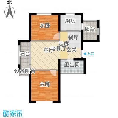 鼎力叶知林98.81㎡F户型,参考建筑面积约98.81平米户型2室2厅1卫