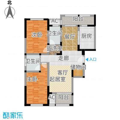 金域天下花园两房两厅两卫-122.9平米户型