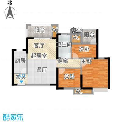 保利茉莉公馆90.00㎡三室两厅一卫 90平米户型3室2厅1卫