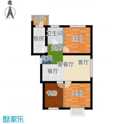 红星凯悦71.27平米户型3室1厅1卫X