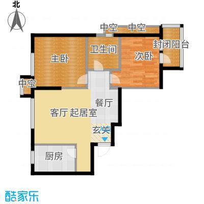 万科明天广场74.00㎡1、2、3#A户型 两室两厅一卫户型2室2厅1卫