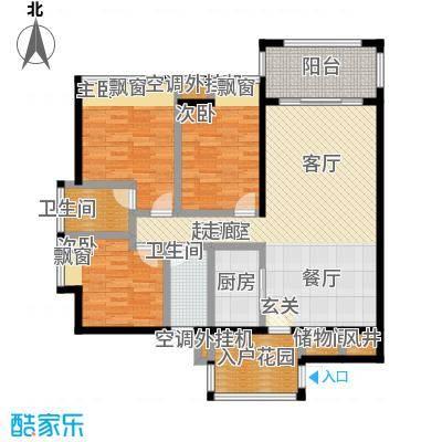 新怡豪门E户型3室2厅2卫1厨 107.93㎡户型3室2厅2卫