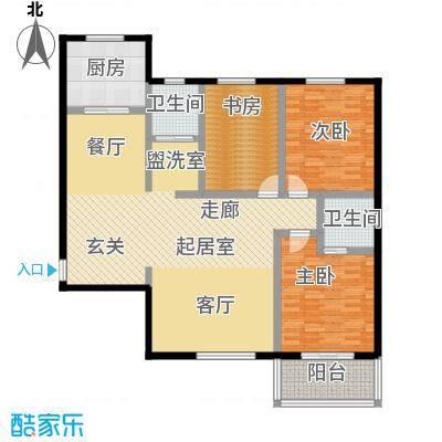锦绣花园134.56㎡A户型三室二厅二卫户型