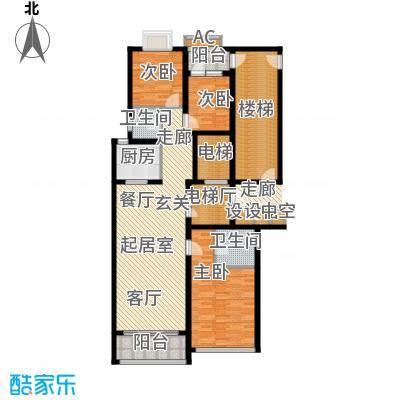 鲁商中心142.00㎡8#楼C户型3室2厅2卫