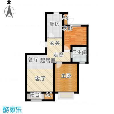 松江东湖小镇B-01户型2室2厅1卫