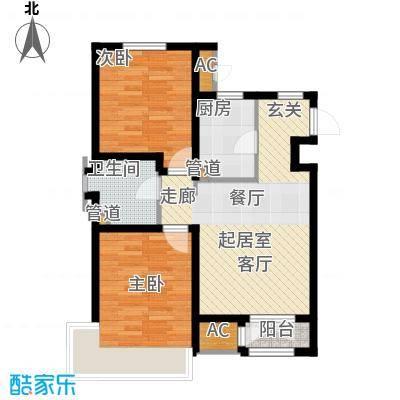 松江东湖小镇A-01户型2室2厅1卫