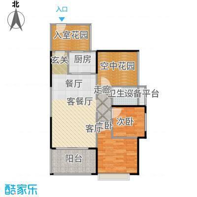 德丰凯旋城79.99㎡A4户型79.99平米2房2厅1卫户型2室2厅1卫