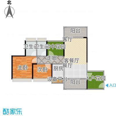 德丰凯旋城92.53㎡A7户型92.53平米2房2厅2卫户型2室2厅2卫