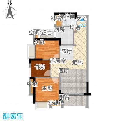 九江中航城90.00㎡F户型3室2厅1卫