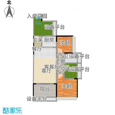 德丰凯旋城81.97㎡D1户型81.97平米2房2厅1卫户型2室2厅1卫