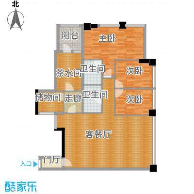 时代广场180.00㎡三号楼22-62层户型 两室两厅两卫户型