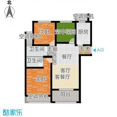 左岸尚海湾116.00㎡C户型 2+1房户型3室2厅2卫