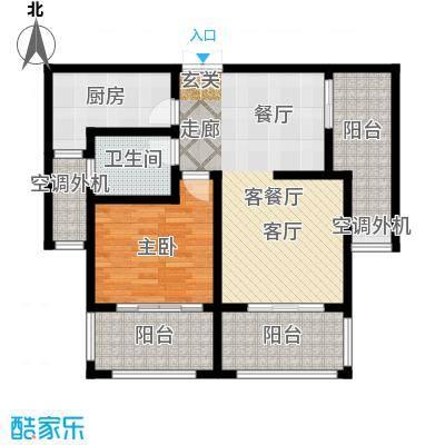 左岸尚海湾88.00㎡B户型 1+1房户型2室2厅1卫