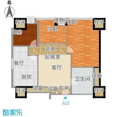 天津环球金融中心138.00㎡C03-三室二厅一卫-138平米户型