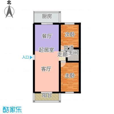 九龙苑100.36㎡A2两室两厅一卫户型