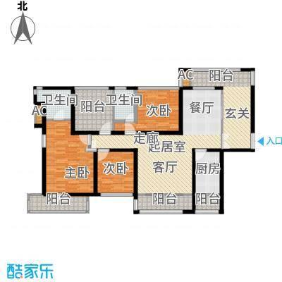 金沙世纪城139.46㎡3+1房2厅2卫户型3室2厅2卫