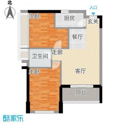 翡翠山79.92㎡C户型 两房两厅一卫户型2室2厅1卫