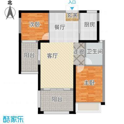 中南世纪锦城户型2室1厅1卫1厨