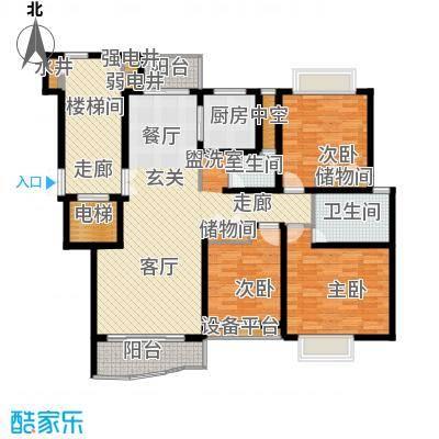 香榭水岸四期公寓户型3室2卫1厨