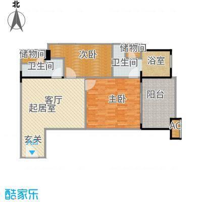 聚龙湖户型2室2卫
