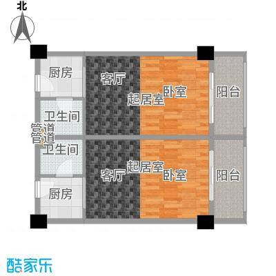 东方银座45.00㎡D户型1室1厅1卫户型1室1厅1卫