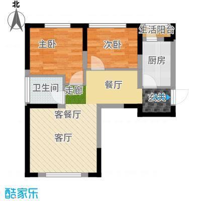 中国铁建国际花园87.27㎡户型2室2厅1卫X