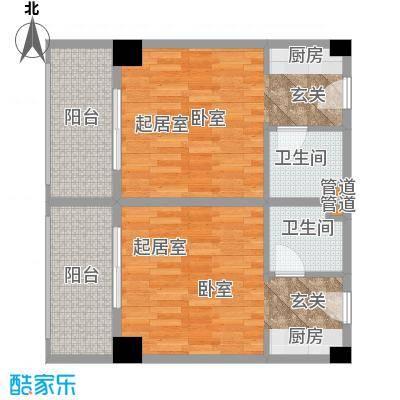 东方银座36.00㎡C户型1室1厅1卫户型1室1厅1卫