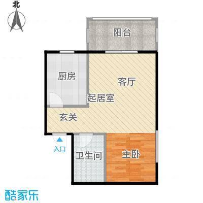 侯河铭品尚江南47.33㎡2、3号楼B1户型一室一厅一卫户型1室1厅1卫