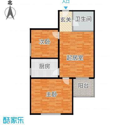 侯河铭品尚江南73.82㎡1、7、8号楼G户型两室一厅一卫户型2室1厅1卫