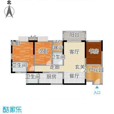 太东时尚岛111.96㎡F户型米户型3室2厅2卫S