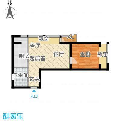 新松・茂樾山55.00㎡建筑面积约55平米D1户型1室1厅1卫