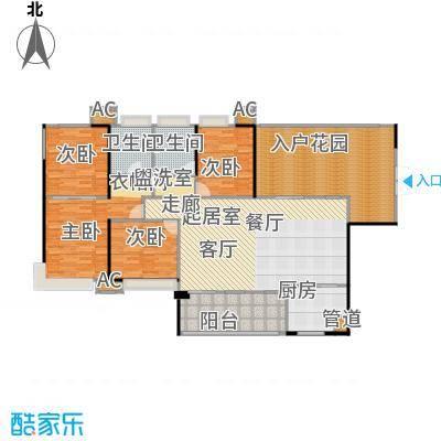 中萃花城湾160.00㎡10、11栋01、04户型三房二厅二卫户型3室2厅2卫