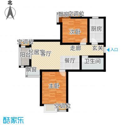 津品鉴筑89.42㎡两室两厅一卫户型