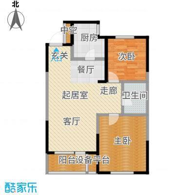 万科明天广场100.00㎡D户型 两室两厅一卫户型2室2厅1卫