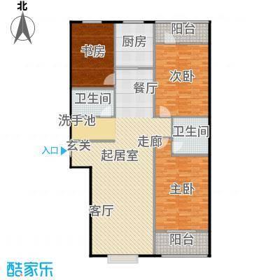 国海公寓137.60㎡C户型三室两厅两卫户型3室2厅2卫